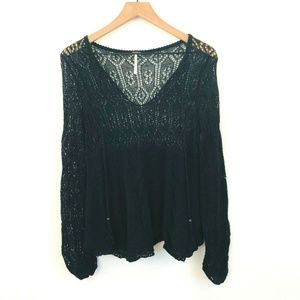Free People V-Neck Crochet Sweater Medium
